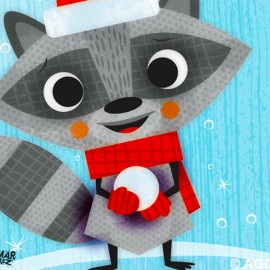 Raccon playing in the Snow