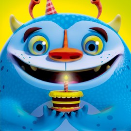 3D Blue Birthday Monster