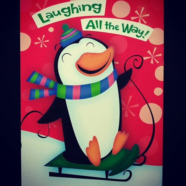 Penguin on sled Christmas card. #christmas #illustration #characterdesign