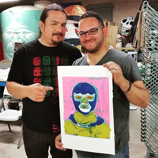Monoprinting technique demo by @deweytafoya @shg1970 #luchadores #monoprint #screenprinting