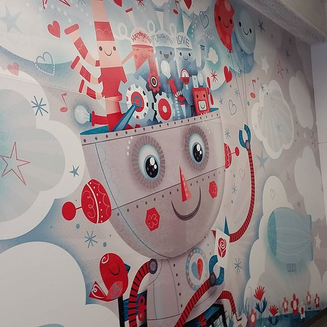 Finally got to see the mural I worked on for the new building. #agcreativestudios #murals #illustration