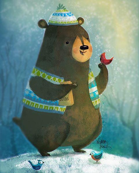 Winter is coming! #characterdesign #bear #illustration #birds #childrenbooks @painted.words #winter #brownbear #cute #whimsical #photoshop #digitalart