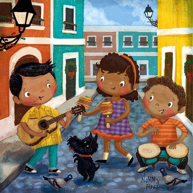 Feliz Navidad! Parranda de mi Puerto Rico! #illustration #characterdesign @painted.words #puertorico #parranda #feliznavidad #cuatro #kids #niños #navidad #childrenbooks #childhoodmemories #bongos #sanjuan #viejosanjuan