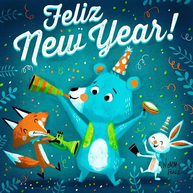 Happy New Year! Feliz Año Nuevo! 2017 #characterdesign #illustration #christmas #newyear #2017 #childrenbooks #characters #felizañonuevo @painted.words