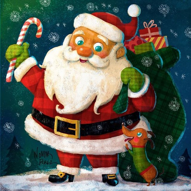 Hope everyone had a Merry Christmas see you next year! #illustration #characterdesign #christmas #santa #wienerdog #candycane @painted.words #navidad #navidad #santaclaus #winter #merrychristmas #gifts