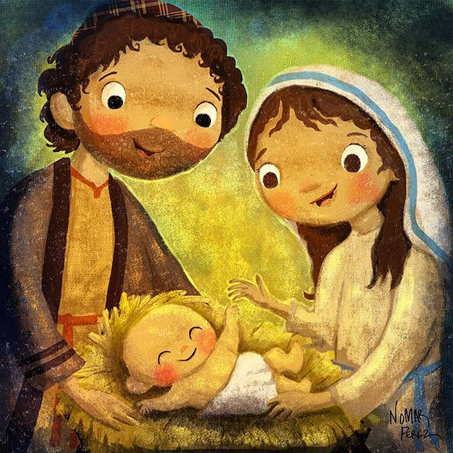 "Merry Christmas! ""For unto you is born this day in the city of David a Savior, who is Christ the Lord."" Luke 2:11 #characterdesign #illustration #christmas #nativityscene #nativity #childrenbooks #jesus #jesuschrist #navidad"