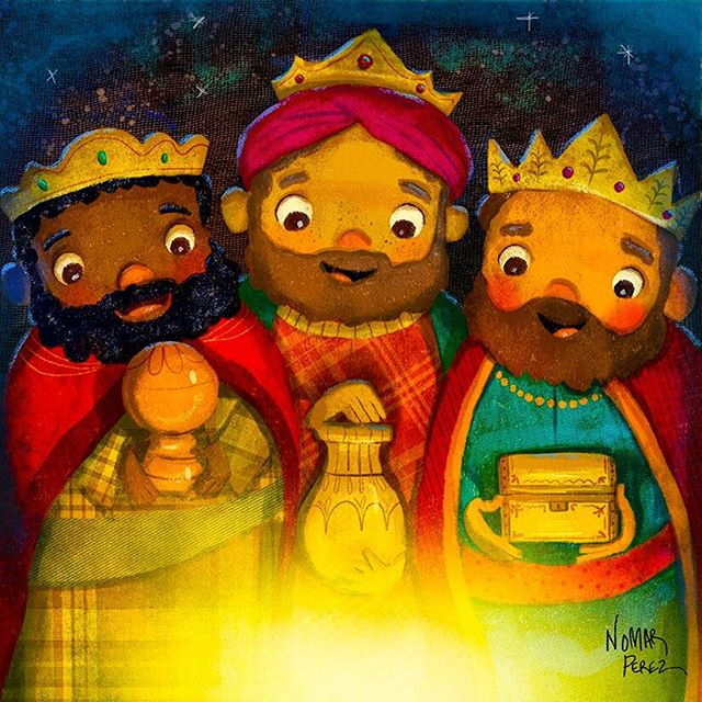 Happy Three Kings Day! Feliz Dia de los Reyes! #reyesmagos #puertorico #navidad #jesus #eldiadelosreyesmagos #illustration #characterdesign #christmas #nomarperez #childrenbooks #childhoodmemories #joy #losreyes #goldfrankensencemyrh #threewisemen #starofbethelehem @painted.words