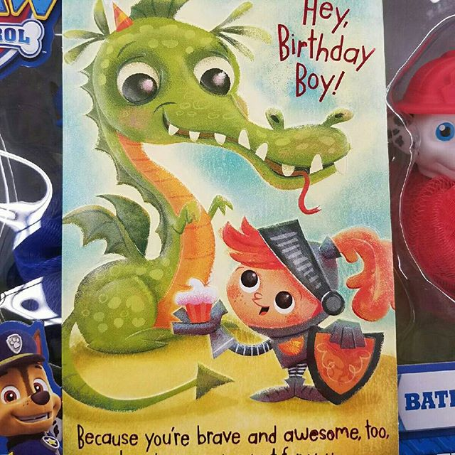 Cool to find and be able to give this Birthday card I designed. #characterdesign #illustration #childrenbooks #greetingcards #happybirthday #birthdaycard #toysrus #birthdayboy #dragonandknight #dragon @jkm_silva