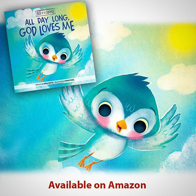 "New Board book I worked on for Group Publishing, ""All Day Long, God Loves Me"". It was so much fun to work on. Go check it out and preoder your copy :) #illustration #childrenbooks #characters @painted.words #nomarperez #baby #bird #god #read #reading #love #kids #kidsbooks #parents"