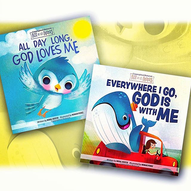 "New Board books out this month by Mikal Keefer! Worked on the illustrations for Group Publishing, ""Everywhere I Go God is with Me"" and ""All Day Long, God Loves Me"". These were a lot of fun to work on. Get your copies today! :) #illustration #childrenbooks #characters @painted.words #nomarperez #baby #whale #god #read #reading #love #kids #kidsbooks #parents #godlovesyou #godlovesme"