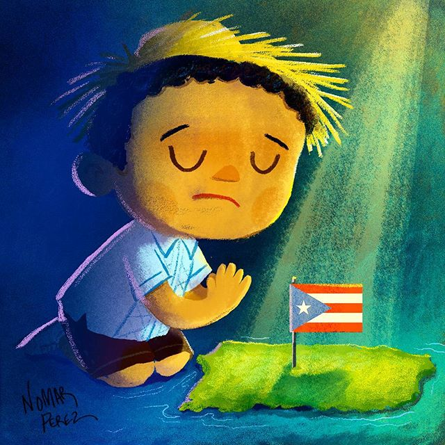 Praying for Puerto Rico. Orando por Puerto Rico #puertorico #hurricanes #pray #orando #boricua #dios #God #characterdesign #illustration #childrenbooks #painting #hurancanirma #isladelencanto