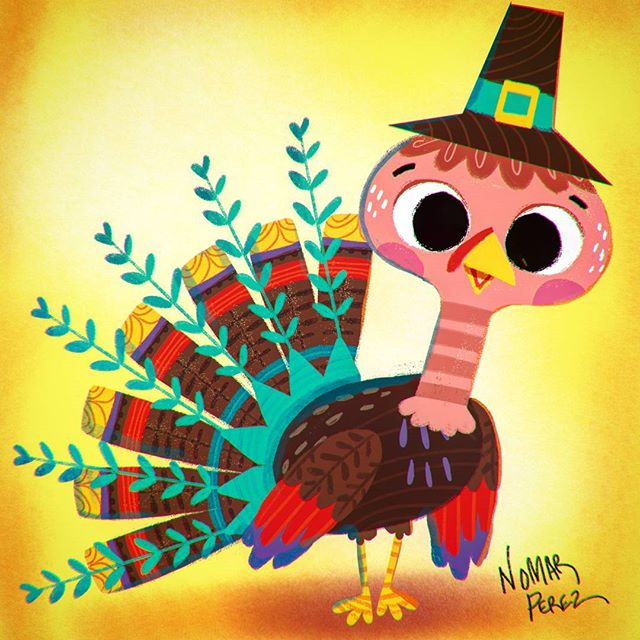 Happy Thanksgiving Everyone! #characterdesign #illustration #childrenbooks #characters #greetingcards #thanksgiving #turkey #thanks #nomarperez #pilgrim #graciasdios #gracias