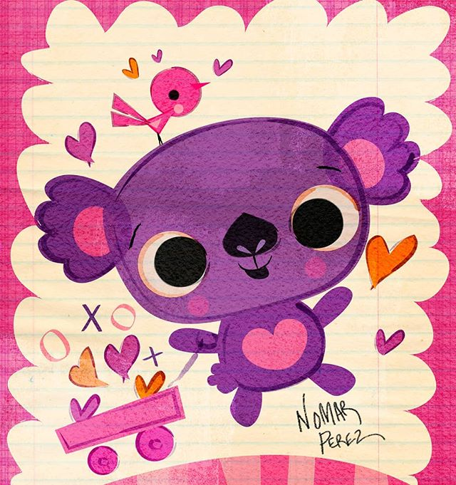 Feliz Dia de San Valentín! Koala love. #greetingcards #koala #illustration #childrenbooks #characters #hearts #valentinesday