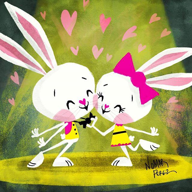 Happy Valentine's Day! Want to wish my favorite valentine @farahrt an awesome Valentine's day! Te amo mucho, gracias por tu amor y por todo lo que haces en mi vida y en la vida de nuestros hijos. #characterdesign #illustration #childrenbooks #painting #character #bunnies #valentinesday #valentines