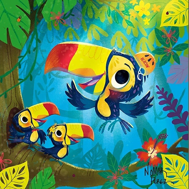 """Never Fear, God is Near"" Board book is available now on Amazon! Great little story for the little ones! It was so much fun illustrating this book. #childrensbooks #illustration #animation #toucan #newrelease #God #nomarperez @painted.words #neverfear #kids #boardbooks #jungle"